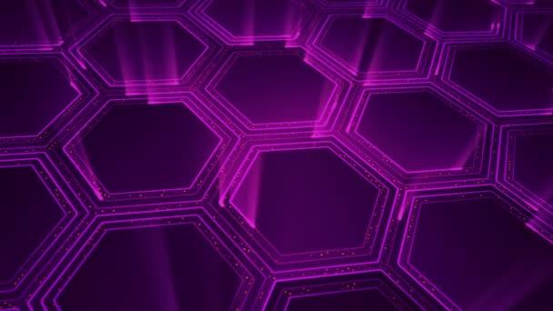 Abstraktní technologické zázemí s animací elektrických signálních částic a fialových světelných pruhů. Animace bezešvé smyčky.