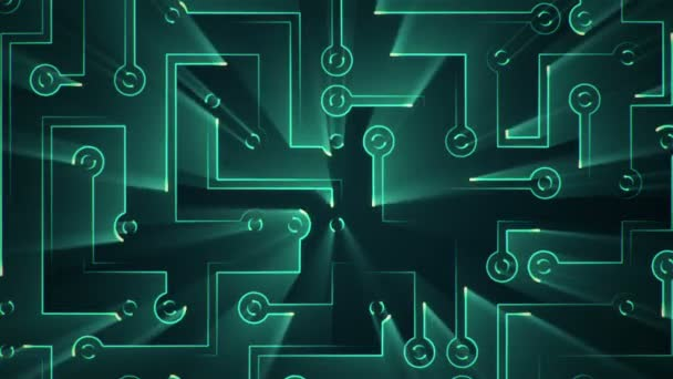 Abstract technology background with animation of circuit electric signal particles and green light stripes. Animation of seamless loop.