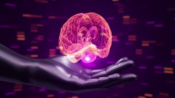 Abstract background with animation of rotation Brain in abstract hands of human. Animation of seamless loop.