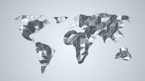 Animace abstraktní mapy Země z polygonálního tvaru a kulovitých vrcholů a čar. Animace bezešvé smyčky.