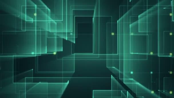 Áramköri elektromos jel animációja részecskéket tartalmazó csíkok geometriai hátterével. Zökkenőmentes hurkok animációja.