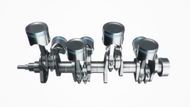 3D animációs felvétel négy hengeres motorról. Zökkenőmentes hurkok animációja