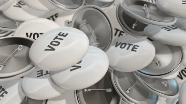 Animation moving of colorful badges with words of vote . Animation of seamless loop