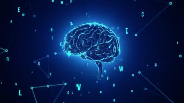 Animace rotace lidského mozku s letícími daty na pozadí. Animace bezešvé smyčky