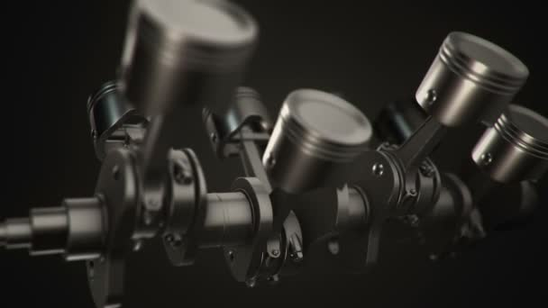 3d animation footage of four cylinders engine. Animation of seamless loop