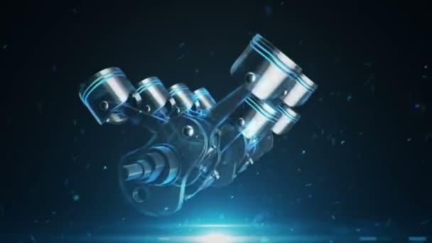 3D animační záběry čtyřválcového motoru. Animace bezešvé smyčky