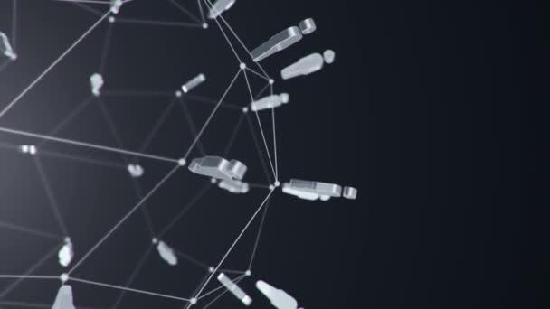 abstrakter Hintergrund mit Animationswolkennetzwerk vom Verbinden der Benutzer, Animation einer nahtlosen Schleife