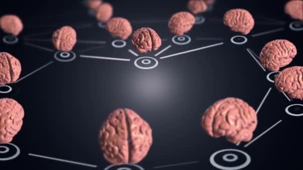 Abstraktní pozadí se sítí animačních cloudů spojujících uživatele ze symbolů lidského mozku, koncept obchodního filmu o předních profesionálech. Animace bezešvé smyčky.