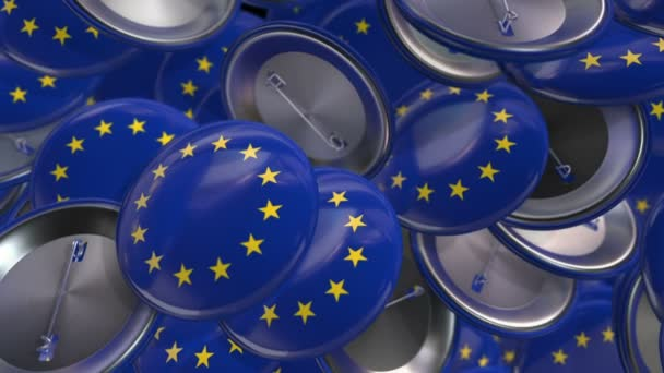 Animation waving of colorful pin with flag of European Union. Animation of seamless loop.