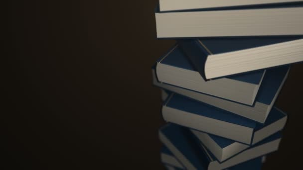 Animation rotation of stack colorful books. Animation of seamless loop.