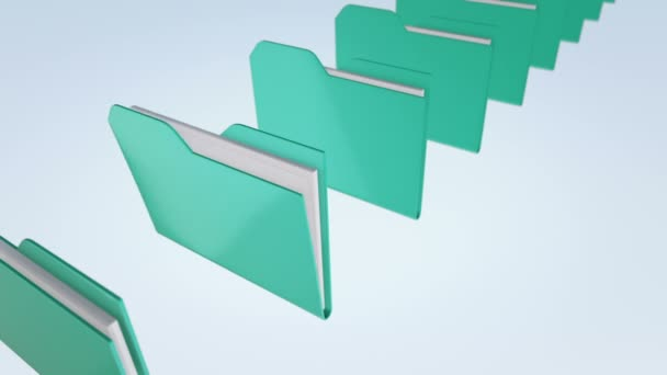 Animation of moving and scanning folders with data. Animation of seamless loop.