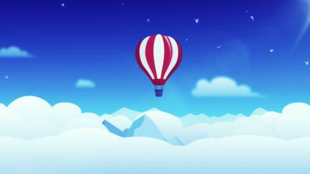 Animace pohybující se mraky v kresleném stylu se vzduchovým balónem a ptáky. Animace bezešvé smyčky.