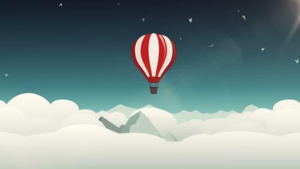 Animáció mozgó felhők rajzfilm stílusban léggömb és madarak. Zökkenőmentes hurkok animációja.