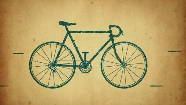 Animáció a gyors lovaglás kerékpár rajz stílusban. Animáció stop motion stílusban. Zökkenőmentes hurkok animációja.