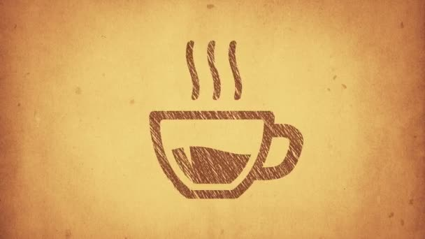Animation of cup with hot tea or coffee in drawing style. Animation in stop motion style. Animation of seamless loop.
