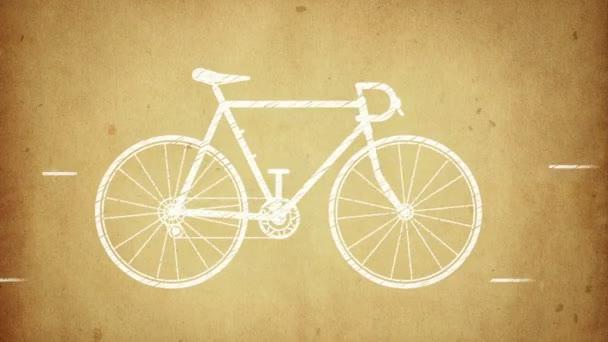 Animace rychlého jízdního kola ve stylu kreslení. Animace ve stylu stop motion. Animace bezešvé smyčky.