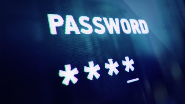 Abstrakter Hintergrund mit Animation der Passworteingabe auf dem Computerbildschirm mit Reflexion aus dem Fenster. Animation einer nahtlosen Schleife