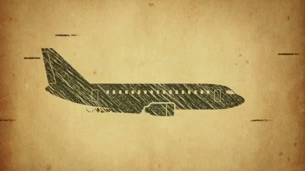 Animace rotace letadla ve stylu ploché ikony na barevném pozadí s kruhem s letícími částicemi. Styl čáry. Animace bezešvé smyčky.