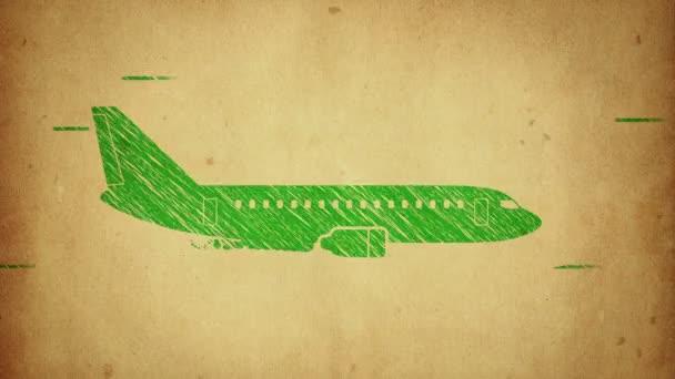 Animáció forgatása repülőgép lapos ikon stílusban színes háttér kör repülő részecskék. Vonalművészeti stílus. Zökkenőmentes hurkok animációja.