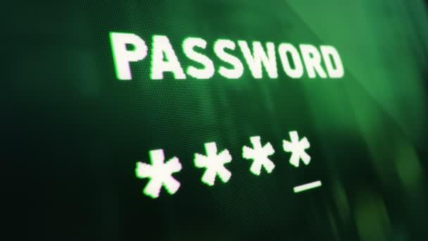 Abstraktní pozadí s animací zadávání hesla na obrazovce počítače s odrazem od okna. Animace bezešvé smyčky