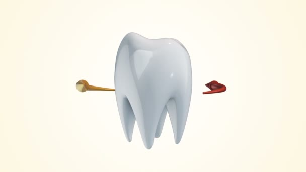 Animation rotation of white tooth with colorful arrows around. Animation of seamless loop.