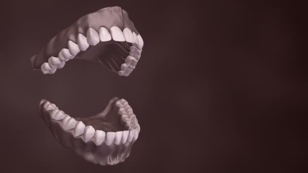 Lékařské zázemí s animací otevření lidské čelisti zuby a zubními implantáty. Animace bezešvé smyčky