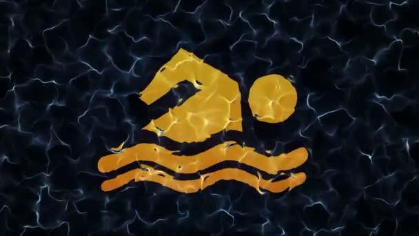 Absztrakt animáció lassú mozgó vízfelülettel és az úszó animáció víz alatti jelével. Zökkenőmentes hurkok animációja.