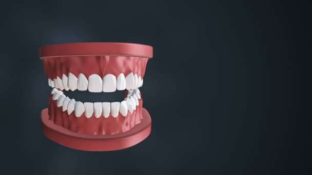 Medical background with animation of opening human jaw with teeth and dental implants. Animation of seamless loop