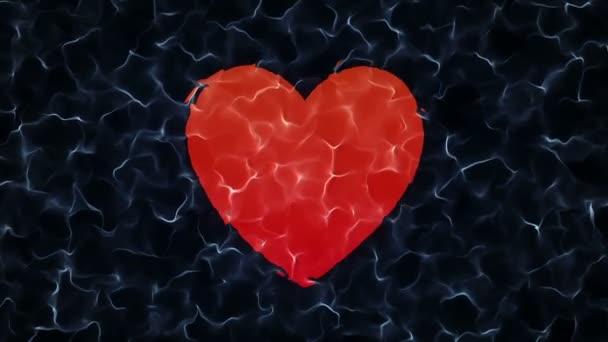Abstrakte Animation mit sich langsam bewegender Wasseroberfläche und Animation Unterwasser-Herzzeichen. Animation einer nahtlosen Schleife