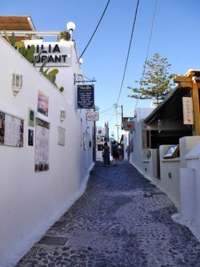 Streets of Fira, a famous city on the island of Santorini. Greece