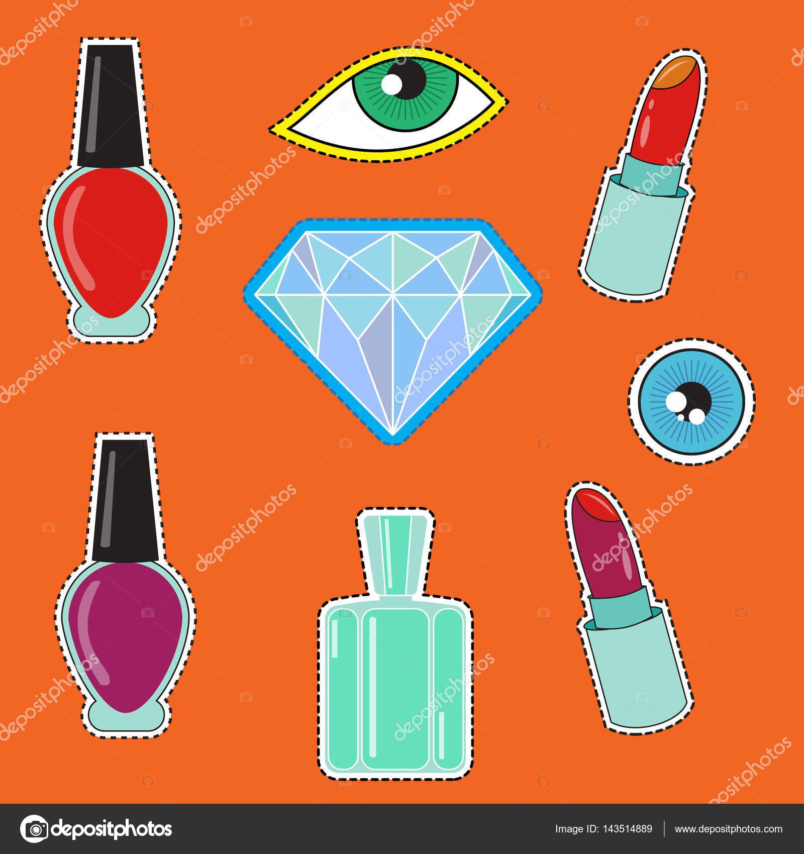Mode-Ikonen, Parfüm, Nagellack, Diamanten und andere Elemente ...