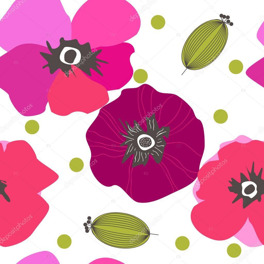 Seamless pattern poppy flowers. Spray paint. Drawing by hand in