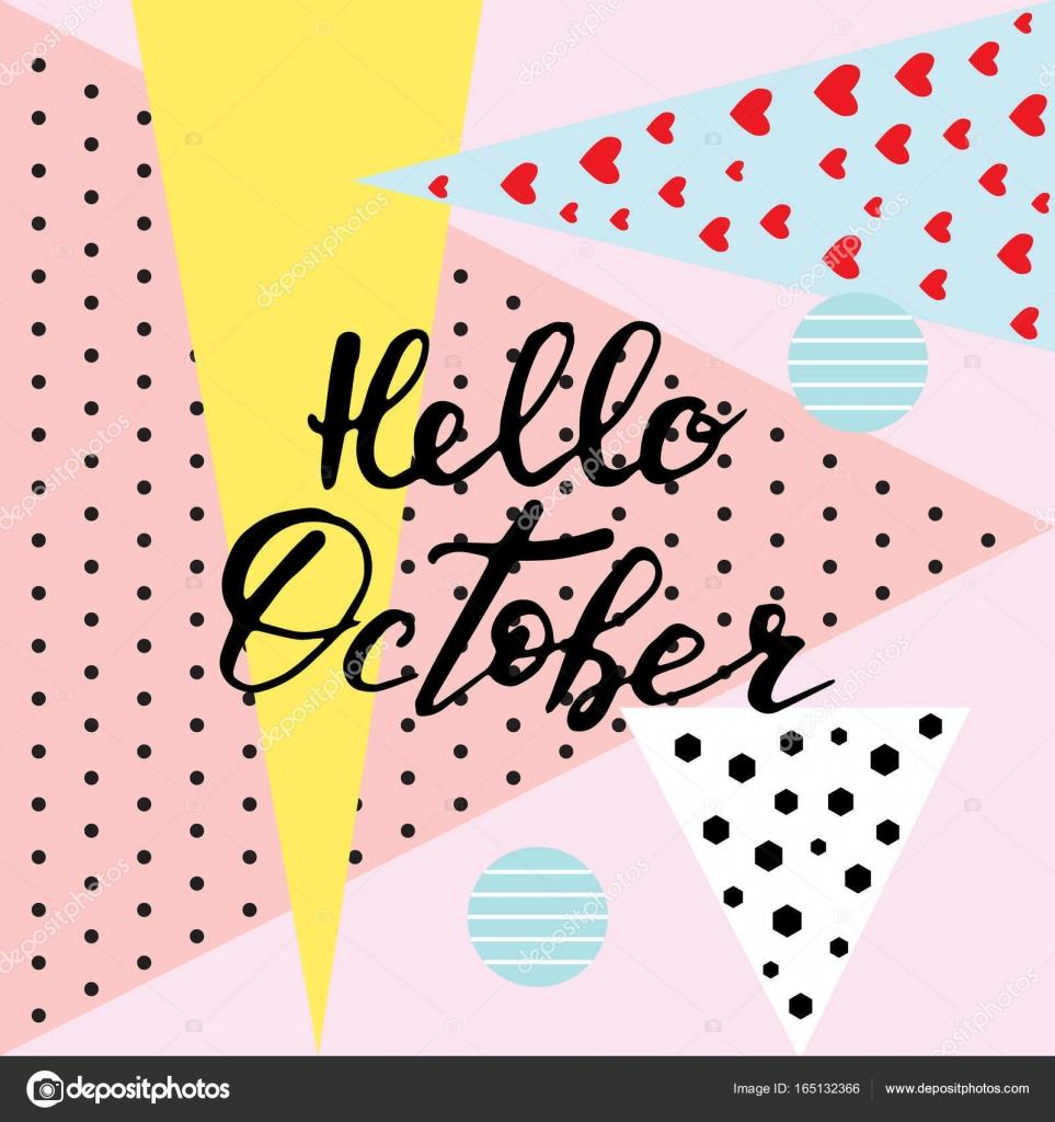 Hello October Hand Lettering QuotesModern Motivation Calligra Stock Vector