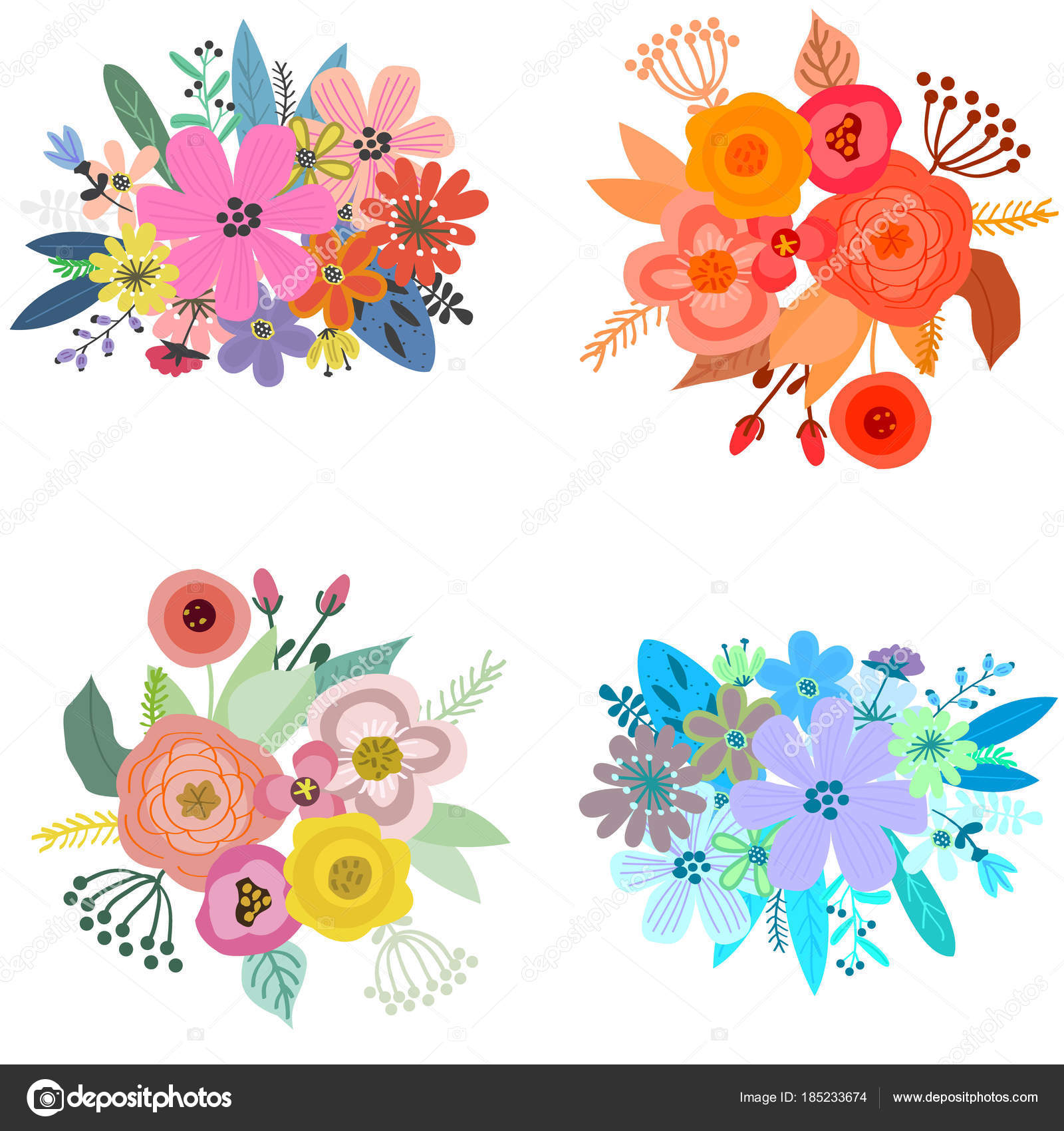 Beautiful spring bouquets of flowers for cards and posters decor beautiful spring bouquets of flowers for cards and posters decor stock vector izmirmasajfo