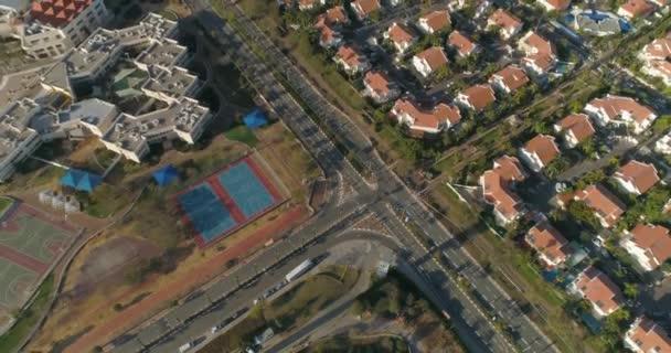 Légi felvétel Netivot felett. Egy város Izrael déli körzetében, Beersheba és Gáza között. rezindetális házak és főút