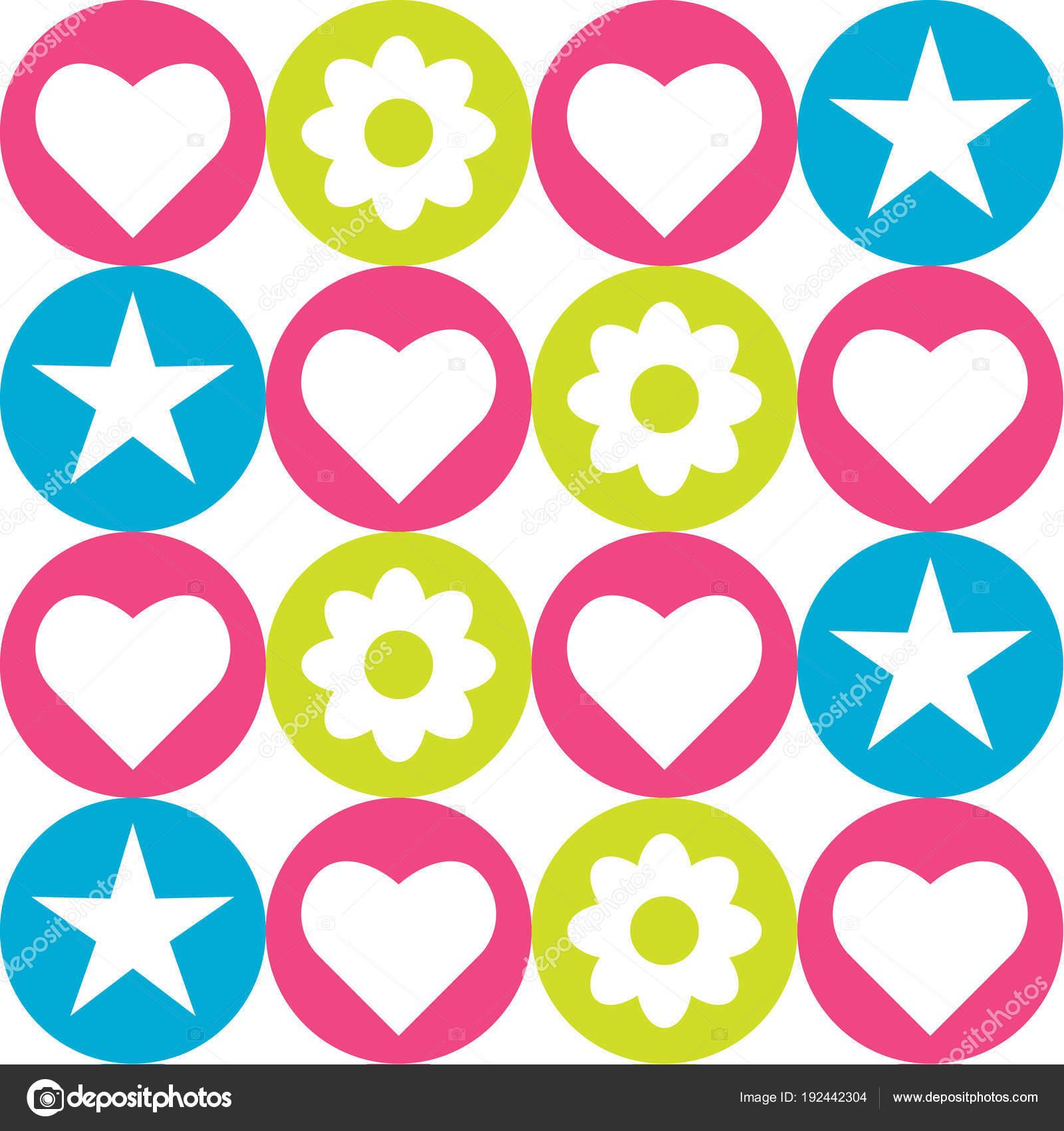 Patrón Sin Fisuras Con Círculos Colores Con Corazones Estrellas