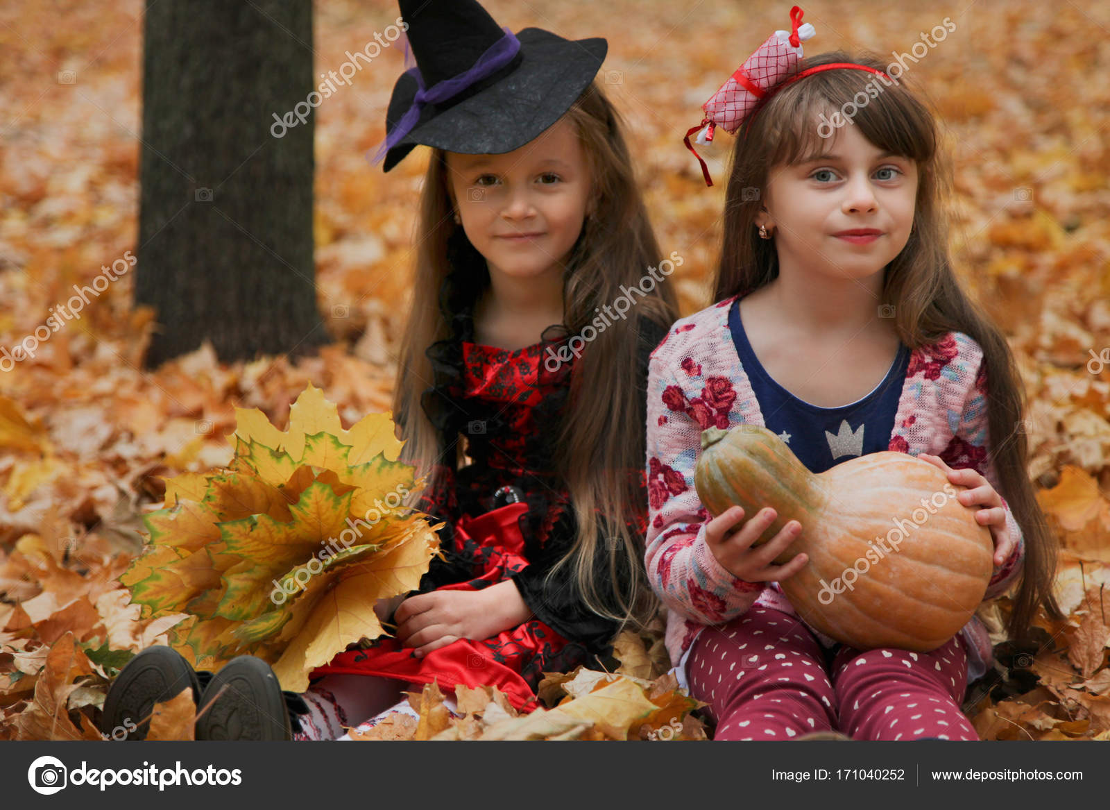 Two Girls In Halloween Costumes Stock Photo Alexthq 171040252