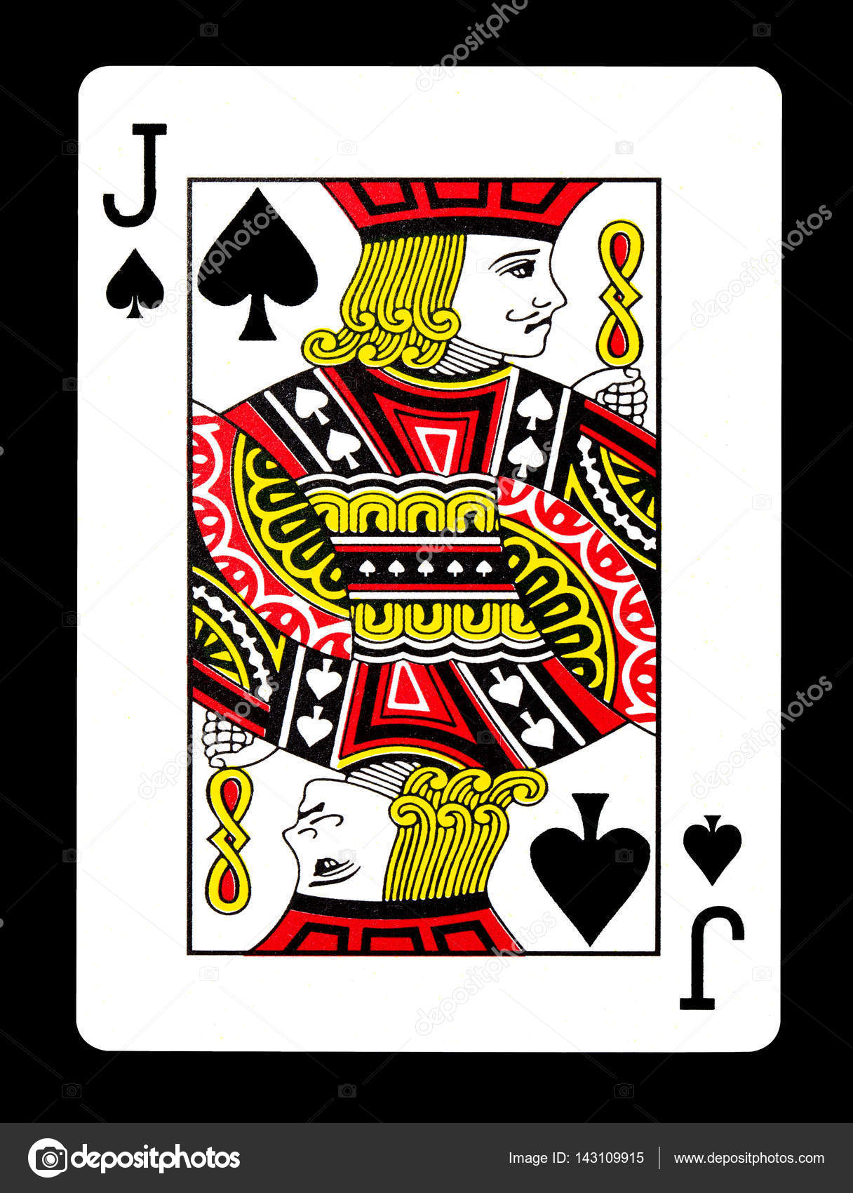 jack spade card  Jack of spades playing card, isolated on black background ...