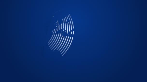 absztrakt modell bolygó föld által alkotott terjesztésével rádióhullámok kék háttér, vállalati mozgás téma