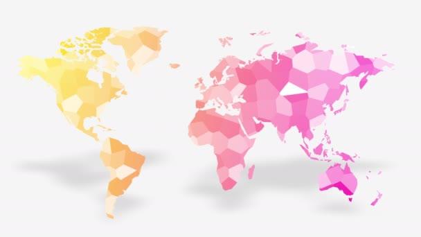 mapa světa tvořená pohyblivým barevným mnohoúhelníkem