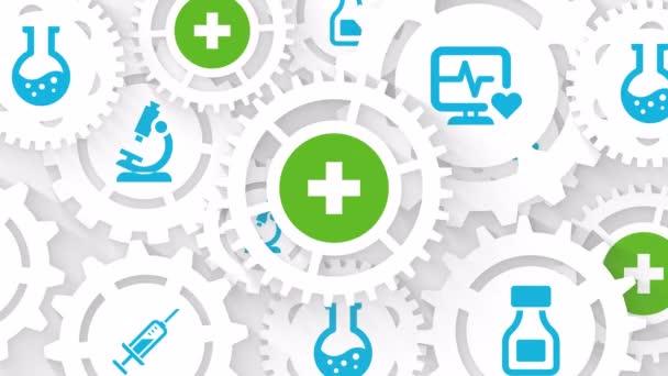 medicína a farmacie pohyb pozadí zdravotní péče koncept abstraktní pozadí s ozubenými koly