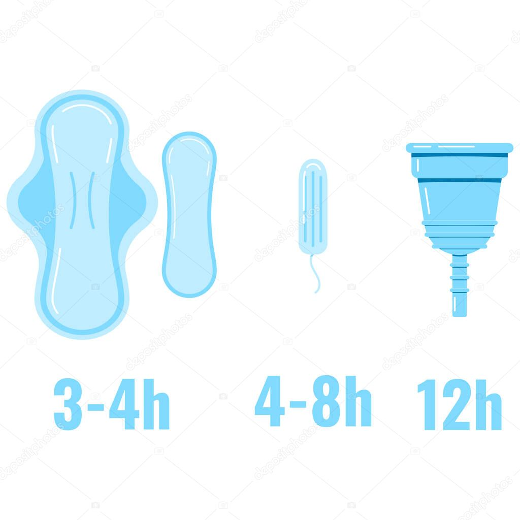 Women Sanitary Napkin Hygienic Tampon Menstrual Cup Replacement Time Infographic Flat Design Vector Illustration Feminine Intimate Hygiene Products Sign Premium Vector In Adobe Illustrator Ai Ai Format Encapsulated Postscript