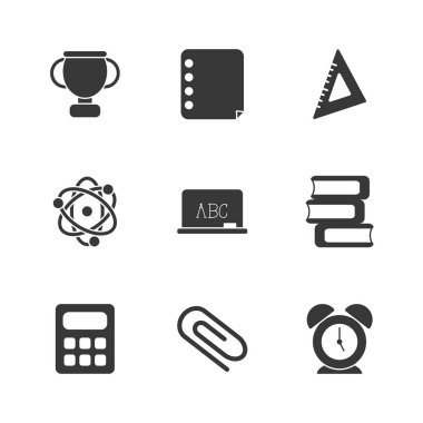 Isolated school silhouette style icon set vector design