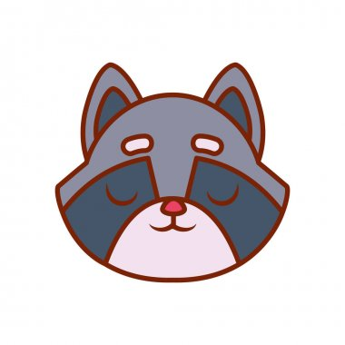 Cute kawaii raccoon cartoon line and fill style icon vector design