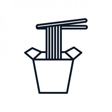 Chopstick with pasta in box japanese food vector illustration design icon