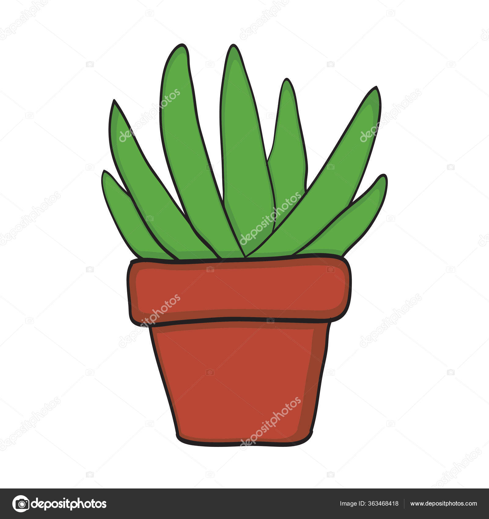 Cute Plant Vector Small Plant Pot Succulents Cactus Hand Drawn Stock Photo Image By C Dapiyupi 363468418