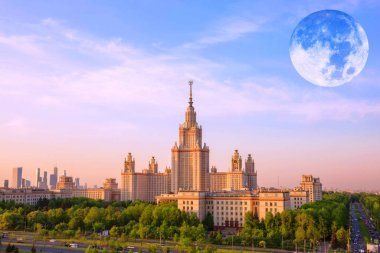 Moon collage of famous Russian unversty campus