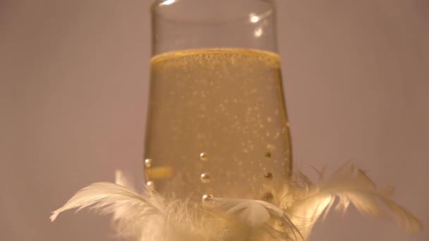 Champagner funkelt in einem schönen Glas mit Federn