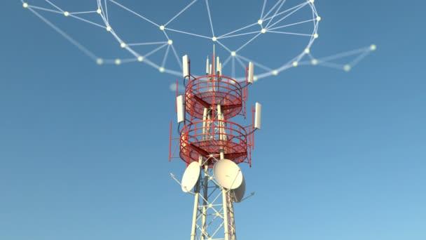 Telekomunkace mobilní věž s některými plexus síťové připojení grafiky