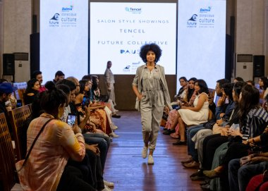 NEW DELHI, INDIA, FEBRUARY 2020 : A model walks the runway wearing designer Spring 2020 collection during New Delhi Future Collective Show